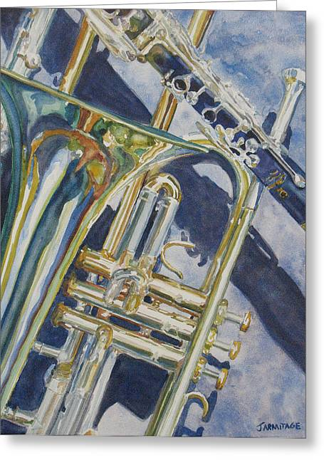 Brass Winds And Shadow Greeting Card by Jenny Armitage
