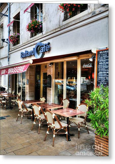 Menu Greeting Cards - Brasserie In Beaune France Greeting Card by Mel Steinhauer