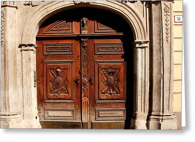 Slovakia Greeting Cards - Bratislava Doors Greeting Card by Thomas Marchessault