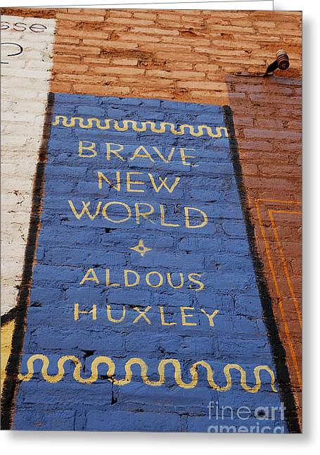 New Mind Greeting Cards - Brave New World - Aldous Huxley Mural Greeting Card by Steven Milner
