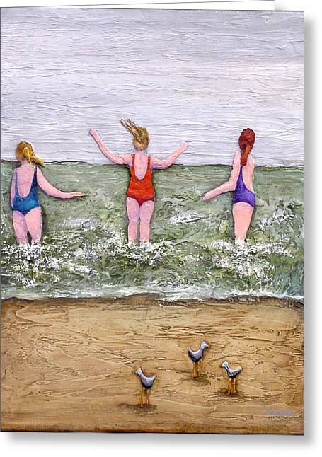 Beaches Reliefs Greeting Cards - Braving the Elements Greeting Card by Linda Carmel