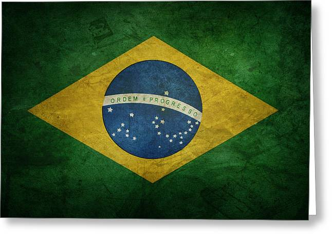 Brazil Greeting Cards - Brazil flag Greeting Card by Les Cunliffe