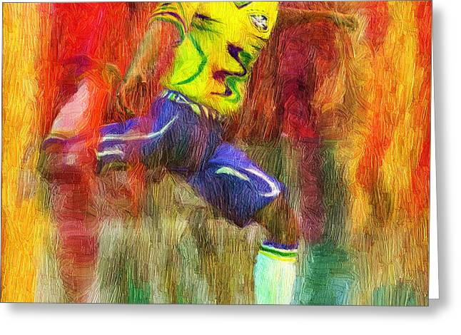 Soccer Framed Prints Greeting Cards - Brazil Soccer Team Uniform Greeting Card by Caito Junqueira