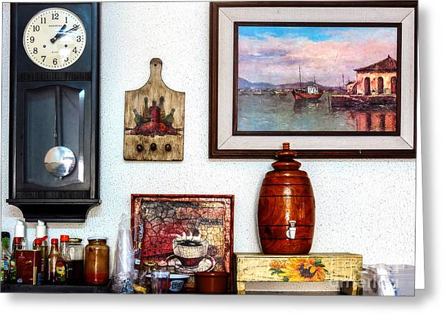Clock Tapestries - Textiles Greeting Cards - Brazilian restaurant Greeting Card by James Hennis