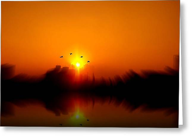 Amazing Sunset Greeting Cards - Brazilian Sunset Serenade Greeting Card by Iva Castro