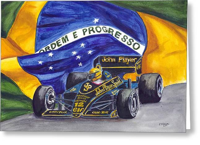 Go Cart Greeting Cards - Brazils Ayrton Senna Greeting Card by Clara Sue Beym