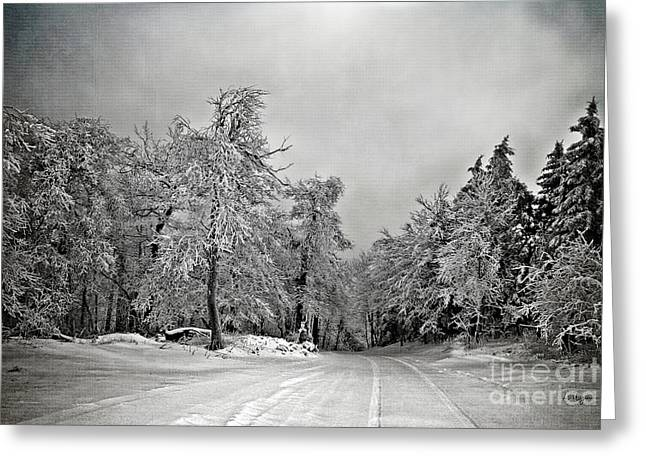 Winter Roads Digital Art Greeting Cards - Break In The Storm Greeting Card by Lois Bryan