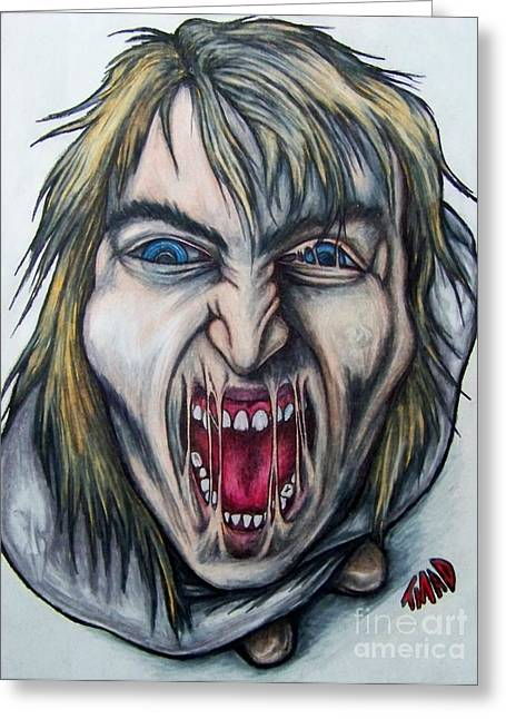 Psycho Drawings Greeting Cards - Break The Silence Greeting Card by Michael  TMAD Finney