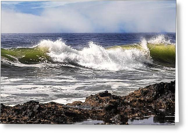 Blue Green Wave Greeting Cards - Breakers D9283 Greeting Card by Wes and Dotty Weber