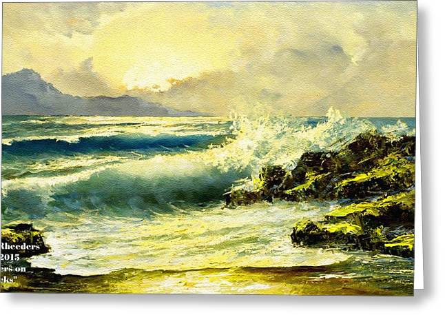 Cellphone Pastels Greeting Cards - Breakers on the Rocks H a Greeting Card by Gert J Rheeders