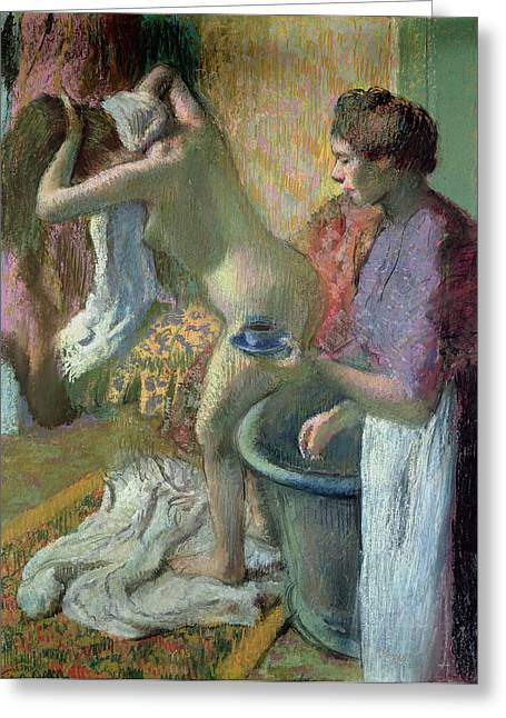 Degas Edgar 1834-1917 Greeting Cards - Breakfast after a Bath Greeting Card by Edgar Degas