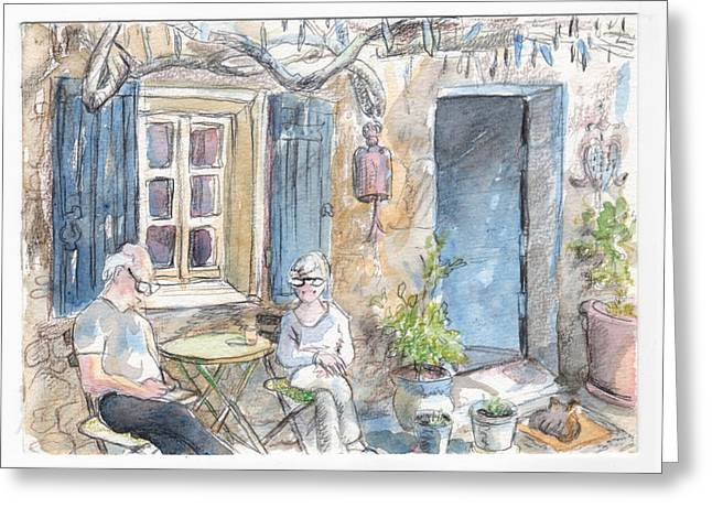 Breakfast Al Fresco Greeting Card by Tilly Strauss