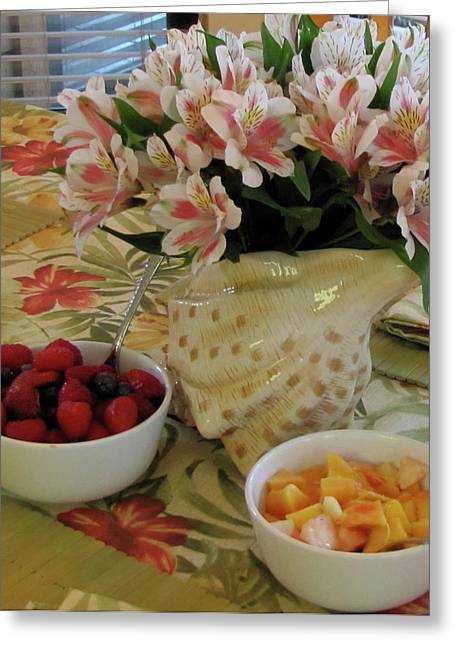 Placemat Greeting Cards - Breakfast at Marys Greeting Card by Kelly Mezzapelle