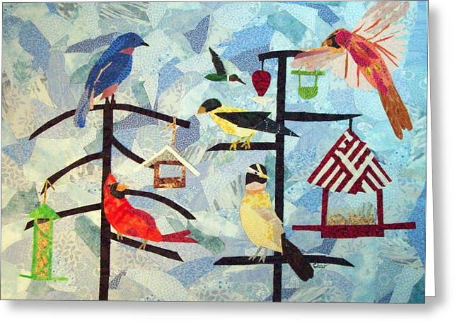 Whimsical Tapestries - Textiles Greeting Cards - Breakfast Crowd Greeting Card by Charlene White