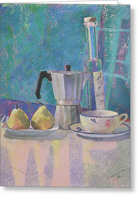 Signature Pastels Greeting Cards - Breakfast for WK Greeting Card by Simon Fletcher