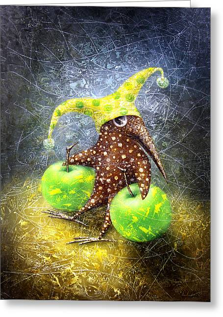 Apple Art Greeting Cards - Breakfast on the Grass Greeting Card by Lolita Bronzini