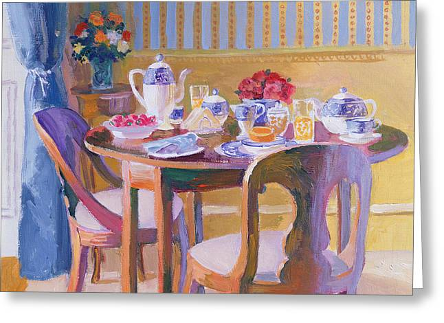 Interior Still Life Paintings Greeting Cards - Breakfast Table Greeting Card by William Ireland