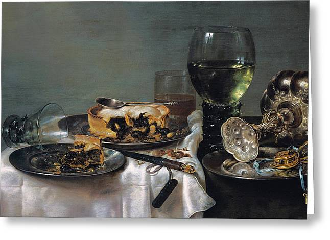 Goblet Greeting Cards - Breakfast Table with Blackberry Pie Greeting Card by Willem Claeszoon Heda