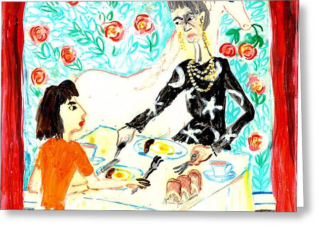 Breakfast with a witch Greeting Card by Sushila Burgess