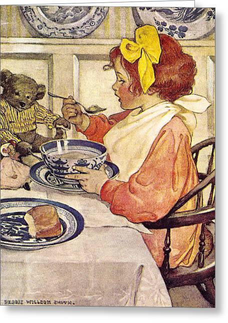 Child With Teddy Bear Greeting Cards - Breakfast With Teddy Greeting Card by Jessie Wilcox Smith