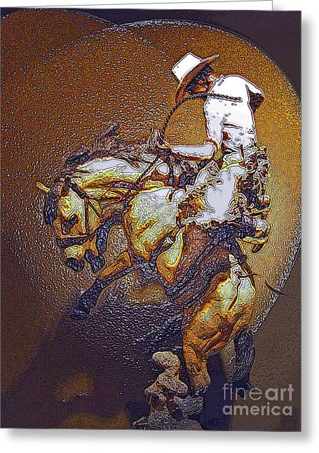 Bronc Greeting Cards - Breakin A Bronc Greeting Card by Al Bourassa