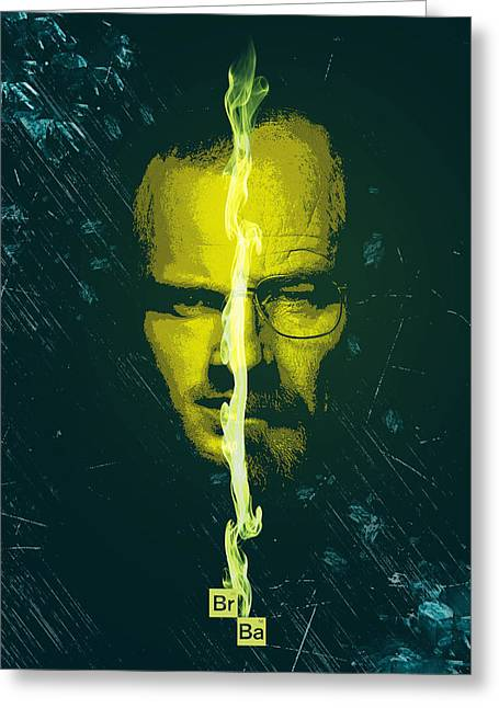 Heisenberg Prints Greeting Cards - Breaking bad poster heisenberg print walter white and jesse pinkman portrait wall decor Greeting Card by Lautstarke Studio