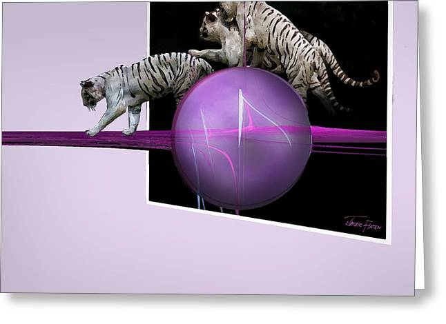 Jackie Flaten Greeting Cards - Breaking out White Tigers Greeting Card by Jackie Flaten