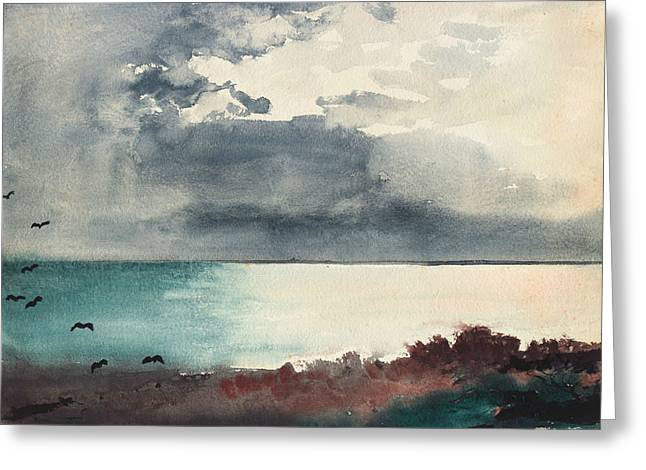 Breaking Storm Coast Of Maine Greeting Card by Winslow Homer
