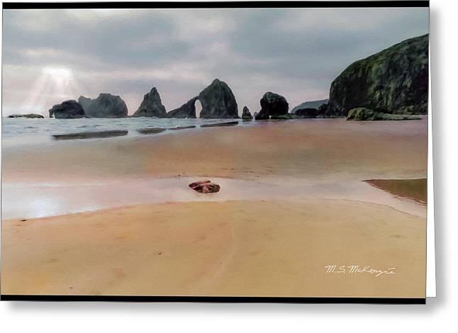 Sun Breaking Through Clouds Greeting Cards - Breaking Through Sea Stacks Greeting Card by M S McKenzie