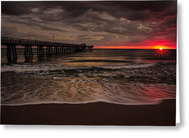 Storm Clouds Pyrography Greeting Cards - Breaking Waves at the Pier Greeting Card by Rick Strobaugh
