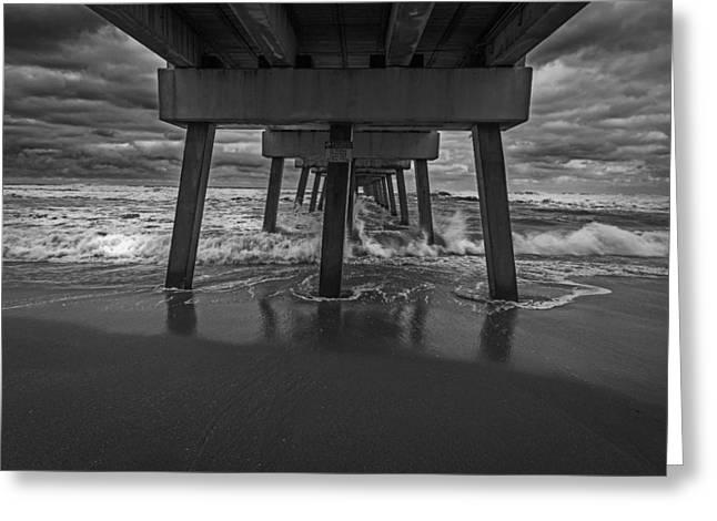Pier Pyrography Greeting Cards - Breaking Waves BW Greeting Card by Rick Strobaugh