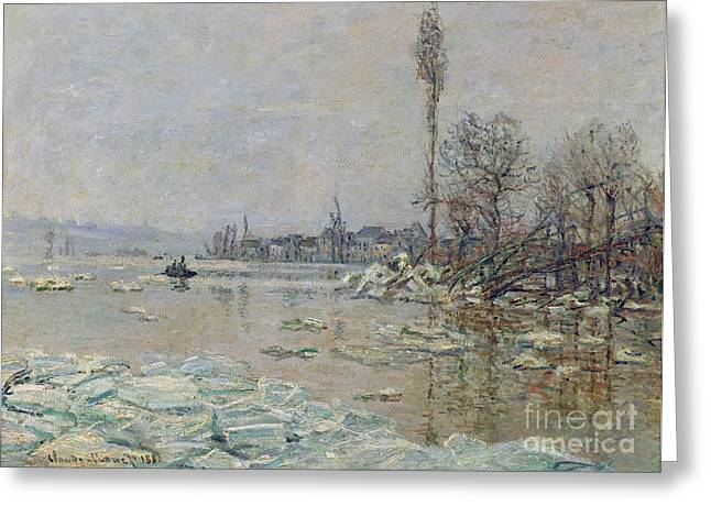 Wintry Greeting Cards - Breakup of Ice Greeting Card by Claude Monet