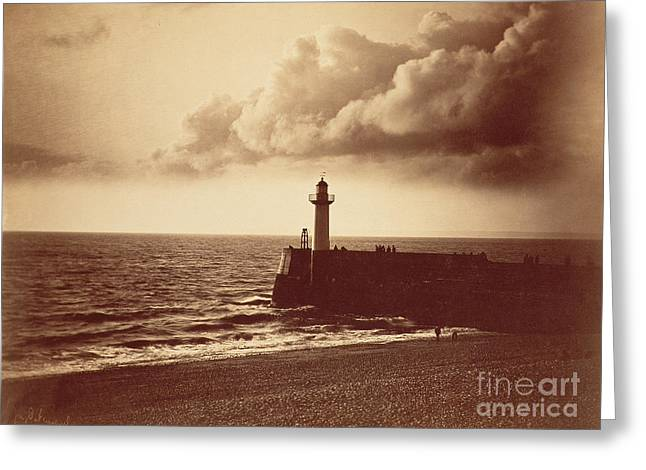 Glass Wall Greeting Cards - Breakwater at Sete Greeting Card by Gustave Le Gray