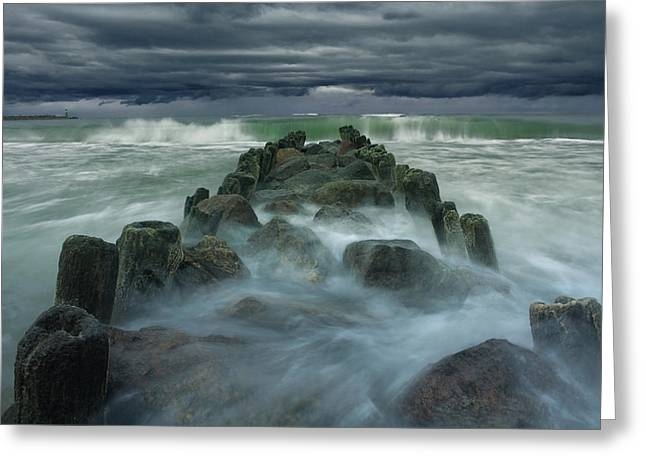 Storm Landscape Greeting Cards - Breakwater Greeting Card by Dmitry Kulagin