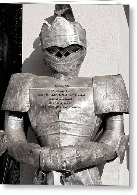 Knight In Shining Armour Greeting Cards - Breastplate Of Righteousness Greeting Card by Diane Macdonald