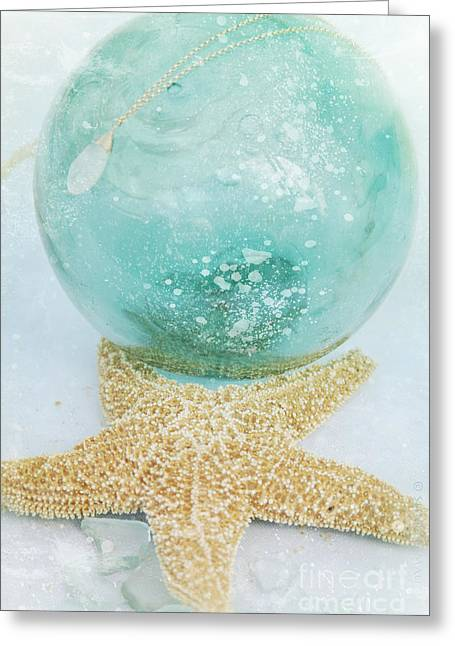 Glass Floats Greeting Cards - Breathe  . . .   like water Greeting Card by Sharon Mau
