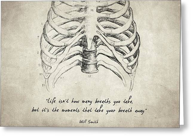 Chest Drawings Greeting Cards - Breathe Quote Greeting Card by Taylan Soyturk