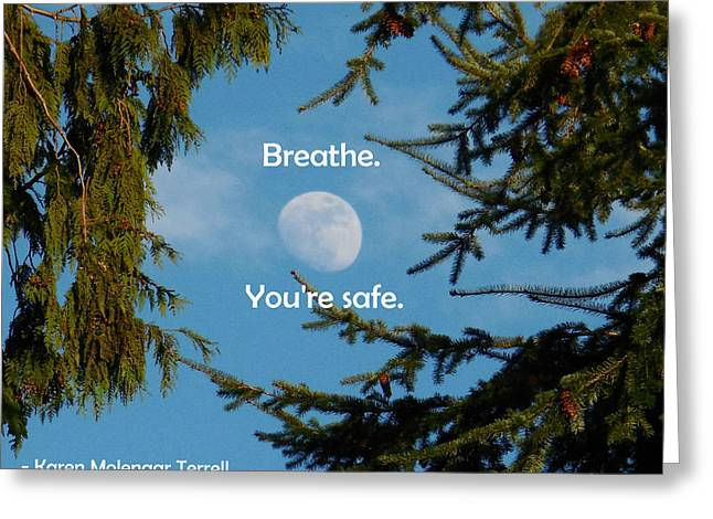 Karen Douglas Greeting Cards - Breathe. Youre Safe. Greeting Card by Karen Molenaar Terrell