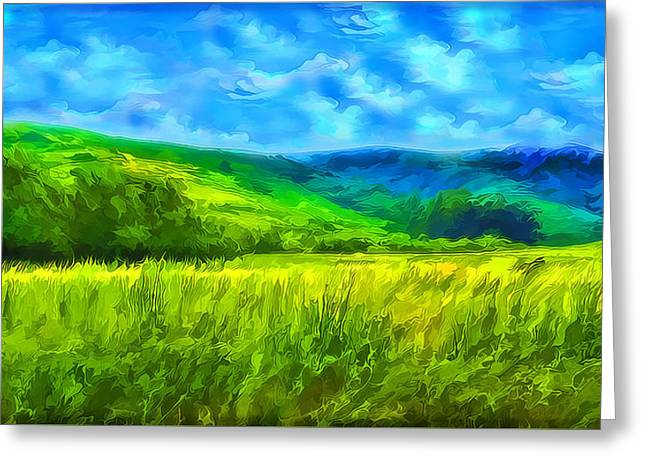Marin County Greeting Cards - Bright Green Meadow - Marin California Greeting Card by Joel Bruce Wallach