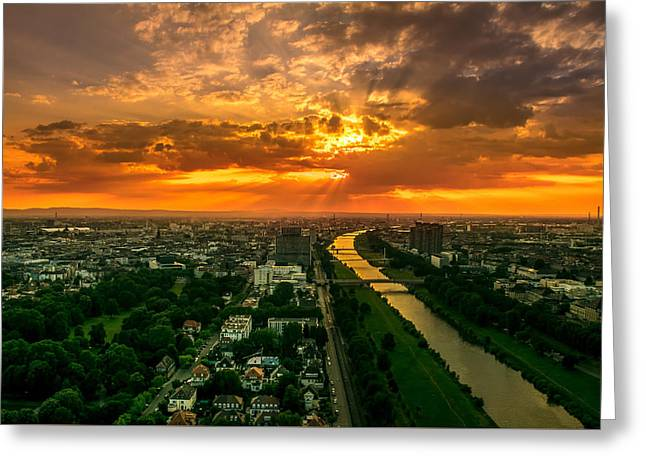 Surreal Landscape Greeting Cards - Breathtaking Mannheim Sunset Greeting Card by Marco G Fotografie