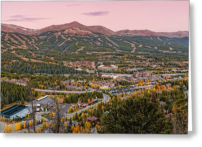 River View Greeting Cards - Breckenridge Panorama at Twilight - Fall Season Rocky Mountains Colorado Greeting Card by Silvio Ligutti