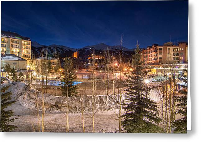 Hike Greeting Cards - Breckenridge Village Winter Evening Greeting Card by Michael J Bauer