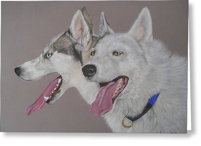 Husky Pastels Greeting Cards - Breeze and Chile Greeting Card by Joanne Simpson