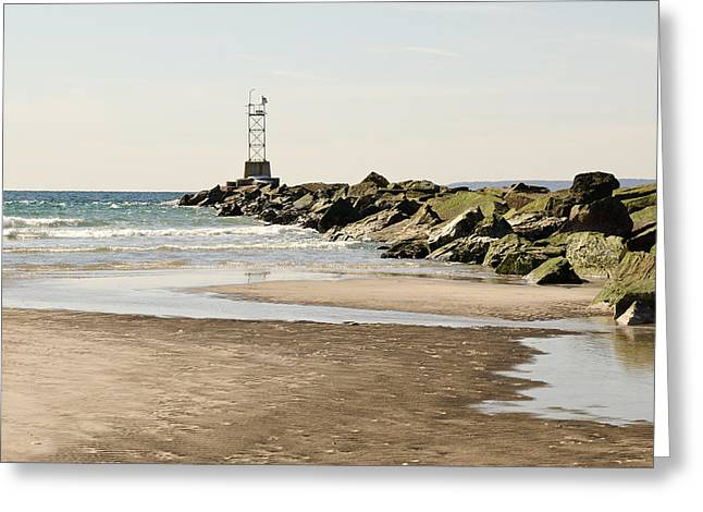 Breezy Greeting Cards - Breezy Point Jetty with Pools Greeting Card by Maureen E Ritter