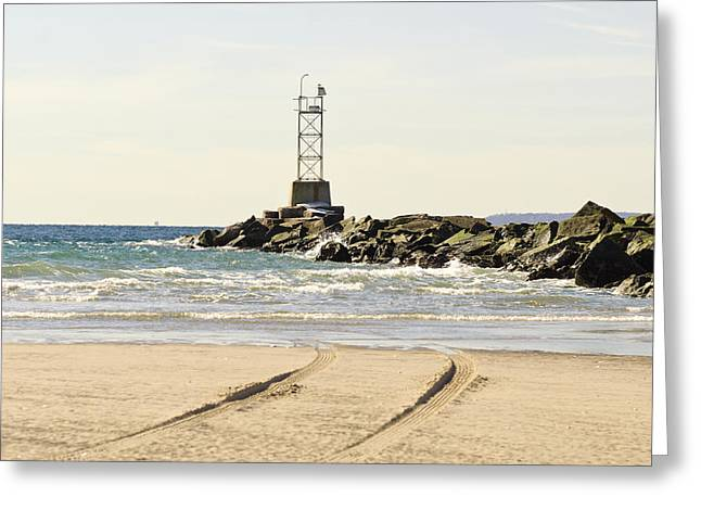 Breezy Greeting Cards - Breezy Point Jetty with tracks Greeting Card by Maureen E Ritter