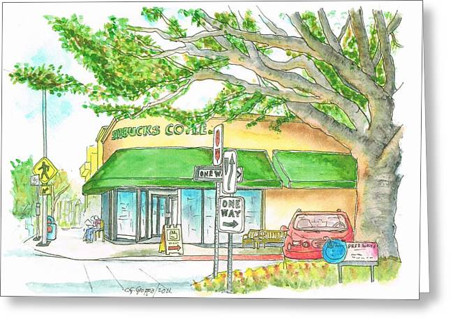 Acuarelas Greeting Cards - Brentwood-Starbucks-California Greeting Card by Carlos G Groppa