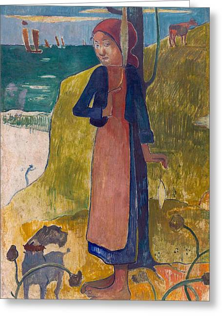 Vintage Painter Greeting Cards - Breton girl spinning Greeting Card by Gauguin