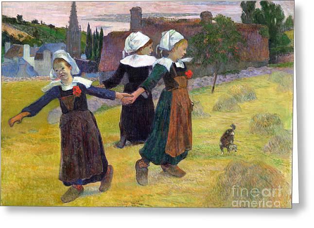 Vintage Painter Greeting Cards - Breton Girls Dancing Pont-Aven Greeting Card by Gauguin