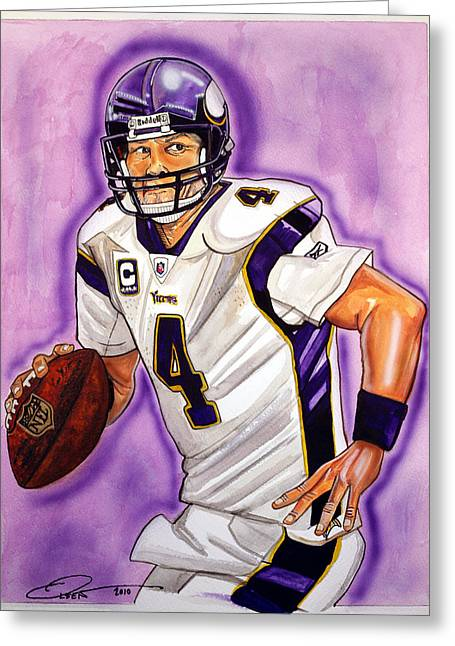 Vikings Paintings Greeting Cards - Brett Favre Greeting Card by Dave Olsen