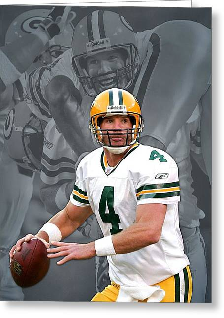 Packers. Greeting Cards - Brett Favre Green Bay Packers Greeting Card by Joe Hamilton